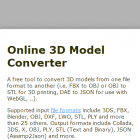 Online 3D Model Conversion tool