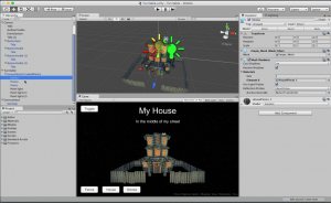 Same house, seconds later, in Unity3D, with extra lights, buttons to control features, you name it!