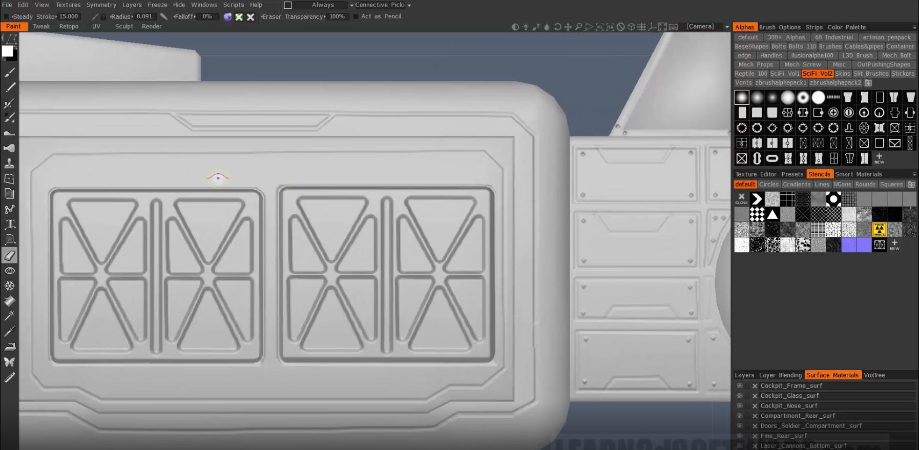 3D Coat 4 7- Sci-Fi Detailing II- PBR & Alpha Brushes (Bonus: 100