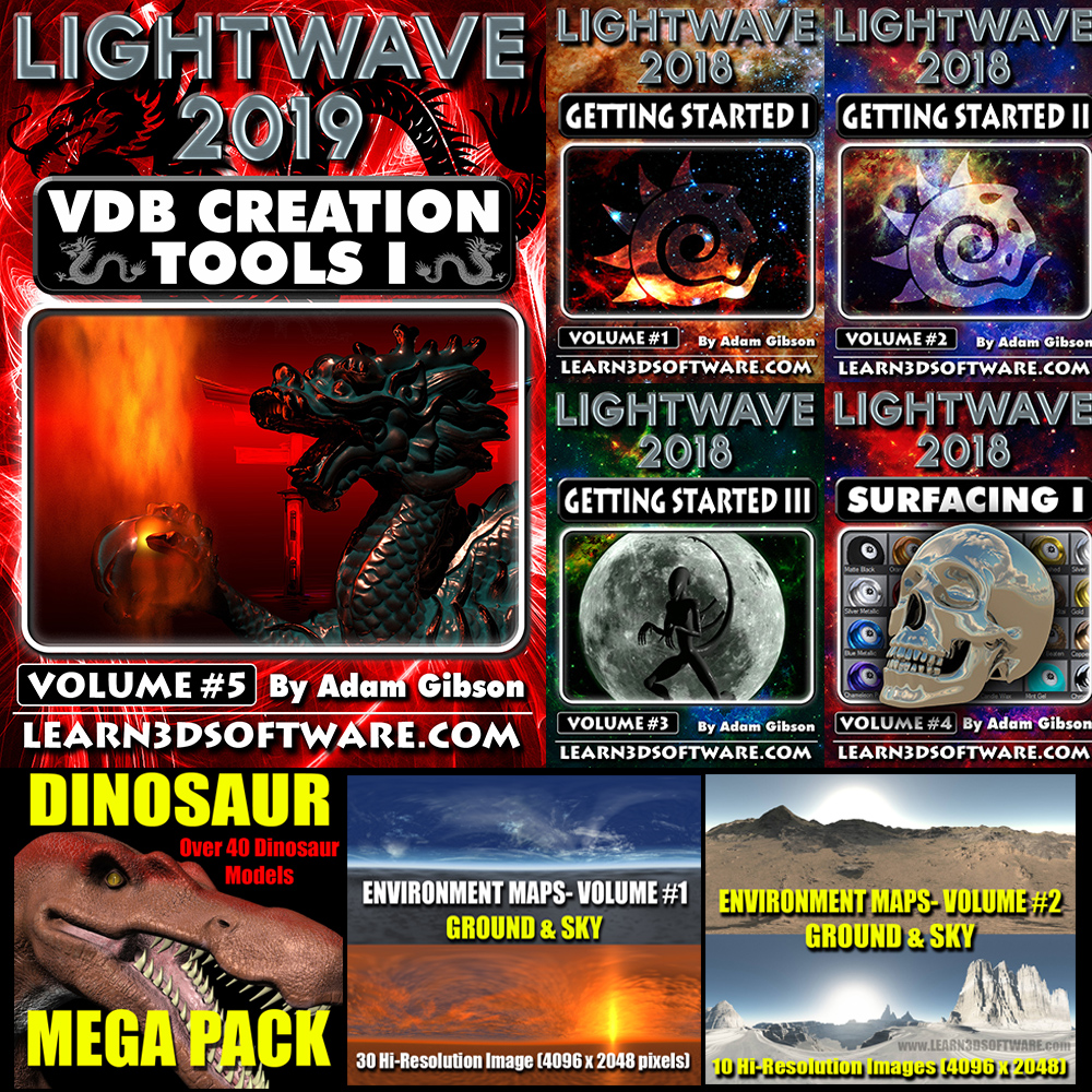 Lightwave 2019/2018- 3D Bundle Pack (5 Volumes, Dino-Pack, Environment Map Collections) [AG]